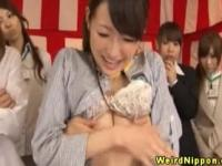 Japenese office ladies get breasts fondled