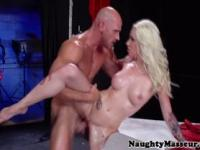 Blonde masseuse pounded with dick