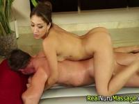 Hairy asian massage babe