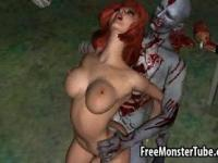 Hot 3D redhead babe fucked outdoors by a zombie