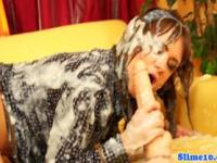 Euro bukkake slut covered in jizz