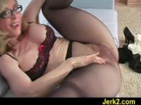 MILF Nina Hartley covered in nylon