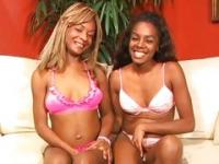 Two beautiful ebonies mutual masturbation