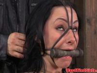 Tied up sub nipples punished with clamps
