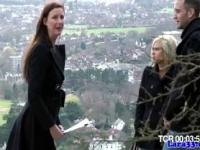 English classy MILF lez plays with young blonde