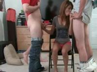 Sweet college girl goes down on knees for a double blow