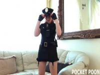 Redhead police woman playing with her pussy