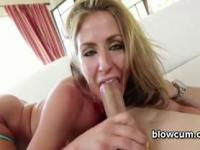 Blonde sucking big pecker and taking messy jizz shot on