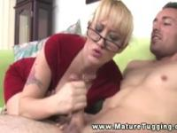 Hot blond busty milf tugging on dick