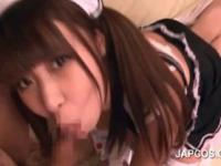 Japanese slutty maid takes cocks in mouth and cunt