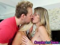 Teen babe threeway oral action