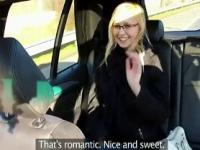 Blonde fucks in fake taxi by the road