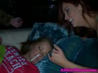 Hot party babes eating eachothers pussys