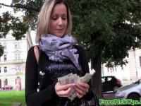 Real euro amateur sucks cock for cash