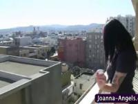 Joanna Angel fingers outdoors