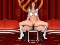 Lesbian sex with hentai pole dancers in hot boots