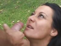 Sandra Romain gets her face sprayed with warm jizz