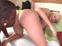 Blonde nympho cunt smashed from behind by giant pecker