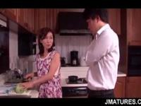 Excited mature Asian housewife banging her lover in bed