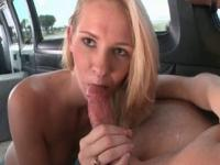 Blonde hoe gets slick pussy fucked hard in the sex bus