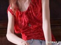 Gloria gets off her tight jeans and teases snatch