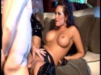 Wild brunette fucked in shiny black stiletto boots