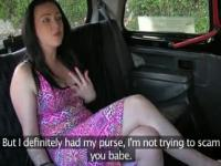 Busty chubby amateur fucked in fake taxi in public