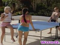 Sexy lesbian chicks play hot threesome after a Table Te