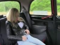 Big tits blonde fucked in shaven pussy in fake taxi