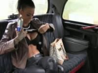 Pierced pussy busty brunette fucked in fake taxi
