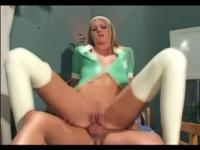 Nurse in latex thigh highs fucking in the hospital