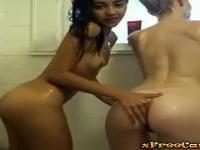 Private shower time lesbian show