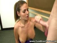 Busty amateur MILF teacher doused in cum