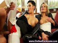 Clothed glamour fuck threesome
