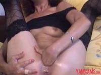 Hot sexy skinny mature milf plays