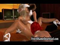 Three gorgeous 3d cartoon strippers put on a lesbian sh