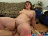Skinny boy fuck fat girl and cum on her face