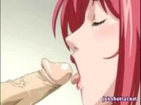 Anime redhead gets hot sperm on her face