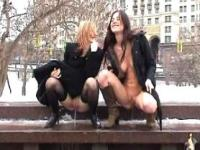 Piss: 2 russian girls piss on public