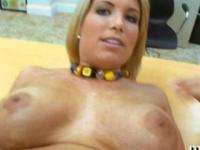Blonde milf pounded on an office table