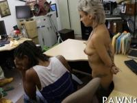 Pawnshop office fuck with short haired slut