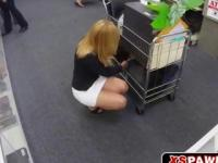 Blonde office chick fucks for some quick cash
