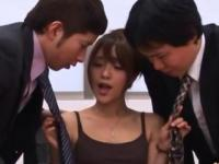 Asian Office Lady Getting toyed by businessmen