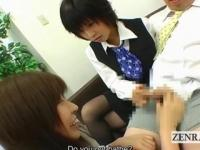 Subtitled CFNM Japanese office lady femdom threesome