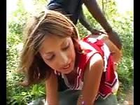 Latin cheerleader fucked in the woods