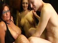 Playing with two busty mature women