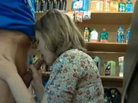 Blowjob in a store