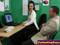 Brunette makes assistant cum