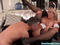 Busty glamour maid Capri Cavanni facialized