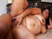 Chubby Latina bathroom sex